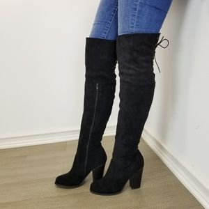 Shoes - Suede Over the knee heel Boots with lace up back
